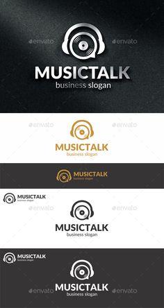 Music Talk Logo ------------------------------------------------- blog, brand, concept, dj, dj logo, entertainment, headphones, identity, music industry, music logo, producer, production, professional, radio, record, recording, resizable, simple & unique, smart, software studio, sound, sound logo, speech, speech bubble, talk, talking, vinyl plate logo, visual identity, web, website
