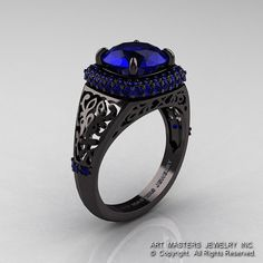 High Fashion 14K Black Gold 3.0 Ct Blue Sapphire by DesignMasters, $2459.00