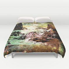space mountains Duvet Cover #duvet #duvetcover #bedding #abstract #fantasy #dormdecor #dormroom #magical #stars #mountains #bed #bedroom