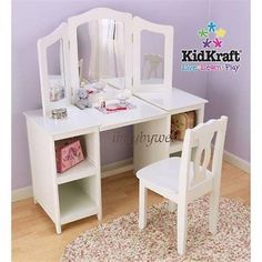 KidKraft 13018 Kids Deluxe Vanity and Chair Set w/ Mirror White NEW #KidKraft