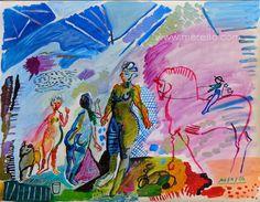 "Jose Manuel Merello.- ""Fantasy"" Mix Media on Paper. (50x65 cm) Art Moderne. Peinture Moderne. http://www.merello.com"