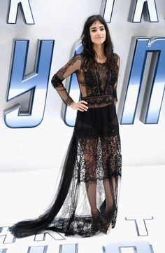 Sofia Boutella Sheer Dress - Sofia Boutella showed plenty of skin in a sheer black lace gown by Alberta Ferretti at the UK premiere of 'Star Trek Beyond.'