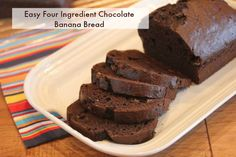 This chocolate banana bread is easy to make and uses only four ingredients. It is also easy to make gluten free.