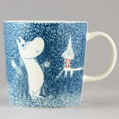 "Marvelous Moomin Mug ""Light Snowfall"" (Arabia Moomin Mugs, Tove Jansson, Sgraffito, Mythical Creatures, My Coffee, Lovely Things, Troll, Character Design, Arts And Crafts"