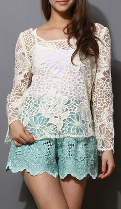 Rose Embroidery Organza Top
