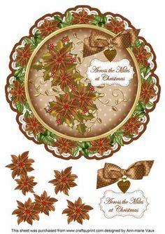 Tea Poinsettia Across Miles 8in Doily Decoupage Topper on Craftsuprint - Add To Basket!