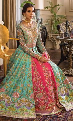 Popular Combinations in Bridal Outfits for Walima Asian Wedding Dress Pakistani, Pakistani Formal Dresses, Pakistani Outfits, Indian Outfits, Pakistani Mehndi Dress, Wedding Dresses For Girls, Party Wear Dresses, Pakistani Bridal Couture, Wedding Lehenga Designs