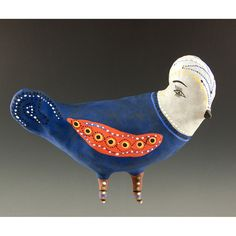 Blue Wall Hanging Ceramic Bird Sydney Sparrow by jennymendes