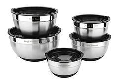 Premium Mixing Bowls with Lids - by Simply Gourmet. Stainless Steel Mixing Bowl Set Contains 5 Bowls with Airtight Lids, Non-Slip Bottoms, and a Flat Base for Stable Mixing. Bowls Nest for Storage ... - Mixing Bowls