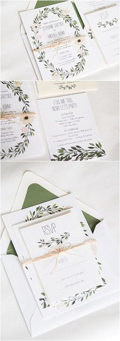 Watercolor Wreath Greenery Wedding Invitation / http://www.deerpearlflowers.com/29-watercolor-wedding-invitations/2/