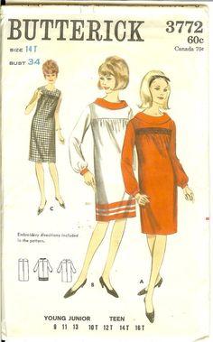 Vintage Dress Square yoke dress 60s Vintage Butterick by Finders2, $22.00