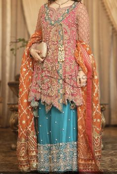 Party & bridal wear made on order Pakistani Party Wear Dresses, Pakistani Wedding Outfits, Designer Party Wear Dresses, Party Dresses Online, Kurti Designs Party Wear, Pakistani Dress Design, Indian Designer Outfits, Lehenga Designs, Fancy Dress Design