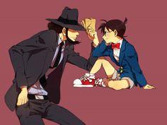 Detective Conan - crossover - Jigen and Conan Conan, Lupin The Third, Kudo Shinichi, Anime Crossover, Magic Kaito, Case Closed, Anime Figures, Manga Comics, Detective