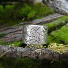 Woodland Fern Ring - Rustic Wedding Band - Made With Real Leaves - Artisan Handcrafted with Reclaimed Fine Silver