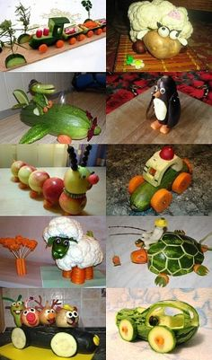 Фотография Food Art For Kids, Fall Crafts For Kids, Diy Crafts For Gifts, Fruit And Veg, Fruits And Vegetables, Deco Fruit, Ag Day, Vegetable Animals, Creative Food Art