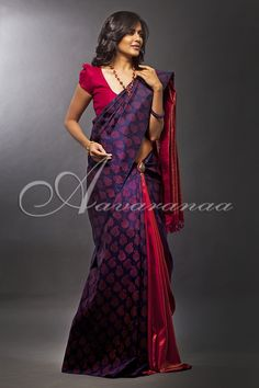 AVA434 Navy blue and red Kancheepuram silk saree with pure zari weaving on the red portion and block print on the blue portion.