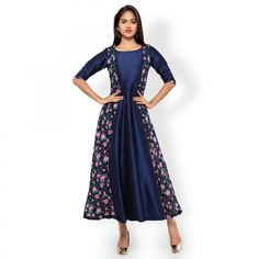 Buy Navy Blue Floral Print Long Kurti - New Kurti's Online Shopping at Peachmode