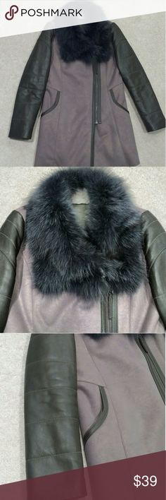 Retro moto suede coat EUC. Received as a gift and worn once. Not really my style. It was originally purchased in Korea. Genuine fur collar, Faux suede coat, moto style with soft Sherpa lining. Super warm and stylish. Fits between a xs and s. Jackets & Coats Pea Coats