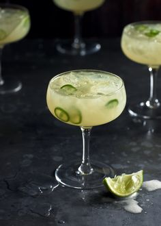 Sour Apple & Chili Margaritas (Tequila, Vodka, Apple Juice, Lime Juice, Simple Syrup, Green Chili)