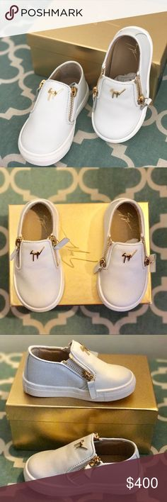 Giuseppe Zanotti toddler shoes Brand new authentic Giuseppe Zanotti Girls' London Laceless Leather Low-Top Sneaker. Size 22. Bought it for $410.00 plush tax but it's too small and their return policy is 7 days after purchase. Giuseppe Zanotti Shoes Sneakers