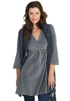 Tunic top in knit velour with surplice front empire sweep by Ellos® | Plus Size Tall Tops | Woman Within