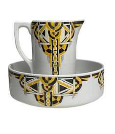 Art Deco Pitcher and Bowl Asymmetrical Design, Art Deco Period, Vintage Market, Bowl Set, Display, Antiques, Dallas, Yellow, Black