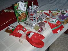 Cute holiday ideas for neighbors or co-workers. Most of these could be made with items one can get at the dollar store.