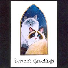 ORIGINAL DESIGN RAGDOLL CAT CHRISTMAS CARDS BY by SuzannesGallery