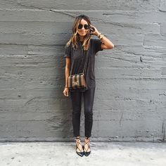 Yesterday in @aninebing tee   @thekooplesofficial leather pants!