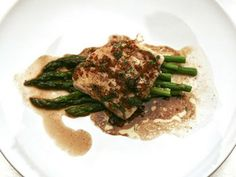 Traci Des Jardins' Halibut with Asparagus in Brown Butter Balsamic ...