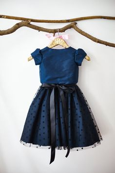 Navy Blue Taffeta Jacket Polka Dots Tulle by MillyWeddingshop