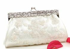 Elegant Ivory Beaded Bridal Wedding Clutch Purse - SPECIAL