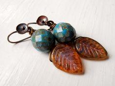 Berry Blue  handmade earrings teal earrings leaf by songbead, £16.00