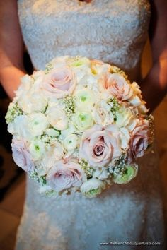 Bridal Bouquet of Baby's Breath, Ranunculus, and Roses - The French Bouquet…