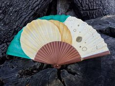 Handfan unique cotton and wood hand painted, an exclusive beautiful accessory. One of a kind as a piece of art. by MonBrise on Etsy