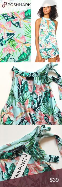 """🆕 MINKPINK Tropical Top Super cute Sunshine Coast Cali Top from MINKPINK featuring rad print and tie at shoulder. Fits true.    22"""" length no stretch, unlined 100% viscose hand wash cold; hang dry imported MINKPINK Tops Camisoles"""
