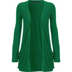 Destiny Long Sleeve Open Cardigan (£11) ❤ liked on Polyvore featuring tops, cardigans, sweaters, jackets, outerwear, jade, plus size cardigans, green top, long sleeve tops and boyfriend cardigan