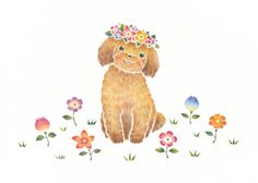 """Puppy Chico with Flowers"" −RiLi, picture book, illustration, design ___ ""花を飾った子犬のチコ"" −リリ, 絵本, イラスト, デザイン ...... #illustration #flower #dog #puppy #イラスト #花 #犬 #子犬"