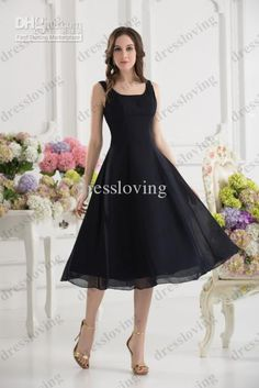 2014 modern a line v neck tea length pleats ribbon bow for Black tea length wedding dress