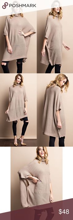 1 HR SALEDANNY poncho style sweater - TAUPE Super cozy turtle neck  poncho style sweater with side buttons. Loose fit. Great for layering or wearing alone. Available in charcoal & taupe.  Fabric 100% acrylic. NO TRADE, PRICE FIRM Bellanblue Tops