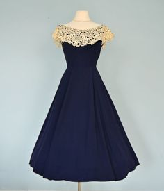 Vintage 1950s Party Dress...Beautiful Tea Length Navy by deomas, $145.00