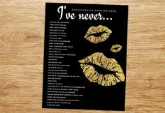 Bachelorette Party Game, Drinking Game, Bachelorette Game, I've Never, Customization NOT included, Gold & Black, Glitter, DIGITAL, Lips by P27Creative on Etsy https://www.etsy.com/listing/227463317/bachelorette-party-game-drinking-game