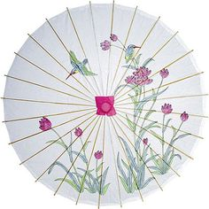 Tulips and Hummingbirds 33 Inch Hand Painted Rice Paper Parasol from Luna Bazaar