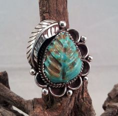 Vintage Carved Turquoise Native American Ring by txrockhound, $65.00
