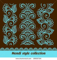 Similar Images, Stock Photos & Vectors of Ornamental seamless borders. Vector set with abstract floral elements in indian style. Mandala Art, Mandala Drawing, Henna Doodle, Henna Art, Floral Embroidery, Embroidery Patterns, Machine Embroidery, Geometric Embroidery, Indian Embroidery