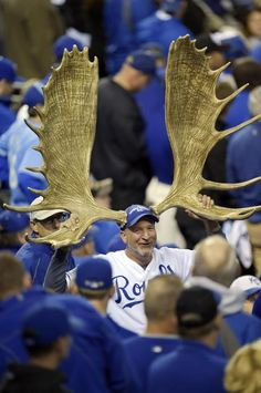Oct 28, 2014; Kansas City, MO, USA; A fan of the Kansas City Royals wears moose antlers in support of third baseman Mike Moustakas (not pictured) during game six of the 2014 World Series against the San Francisco Giants at Kauffman Stadium. (Christopher Hanewinckel-USA TODAY Sports) MLB: World Series-San Francisco Giants at Kansas City Royals