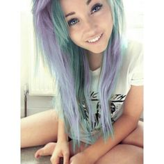 Lavender Purple Mint Green Hair ❤ liked on Polyvore this is totally sweet!