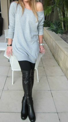 victorias secret sweater dress + stuart weitzman 50/50 boot