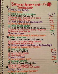My summer bucket list. Some really good ideas!!