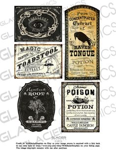 Halloween Poison Labels Halloween Witch Potion Labels Halloween Witchs' Brew…